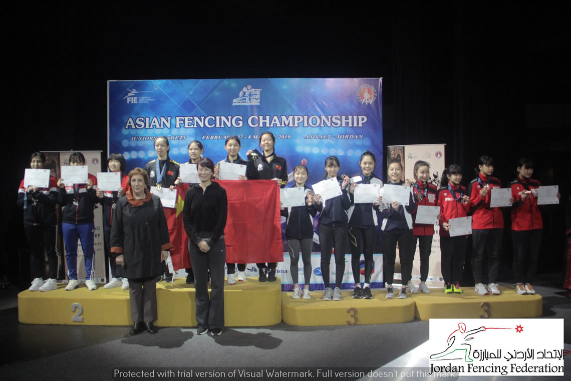 Foil Women's Team Asian Cadet Championship Jordan 2019