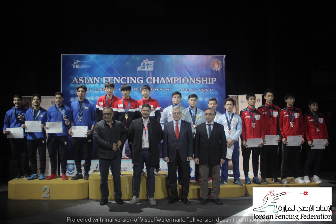 Sabre Men's Team Asian Cadet Championship Jordan 2019